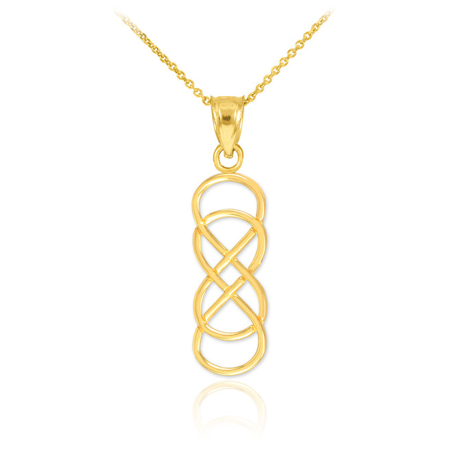 14K Gold Vertical Infinity Double Knot Pendant Necklace