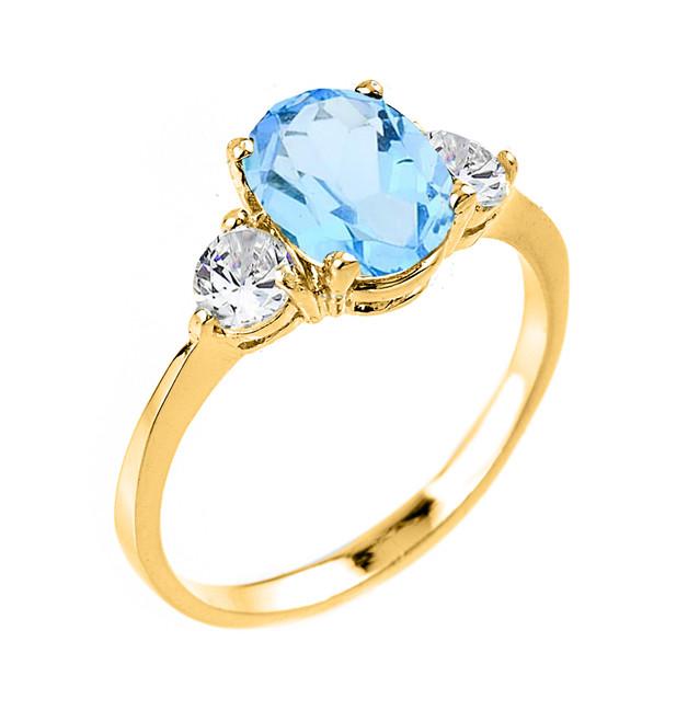 Gold Blue Topaz Gemstone Ring