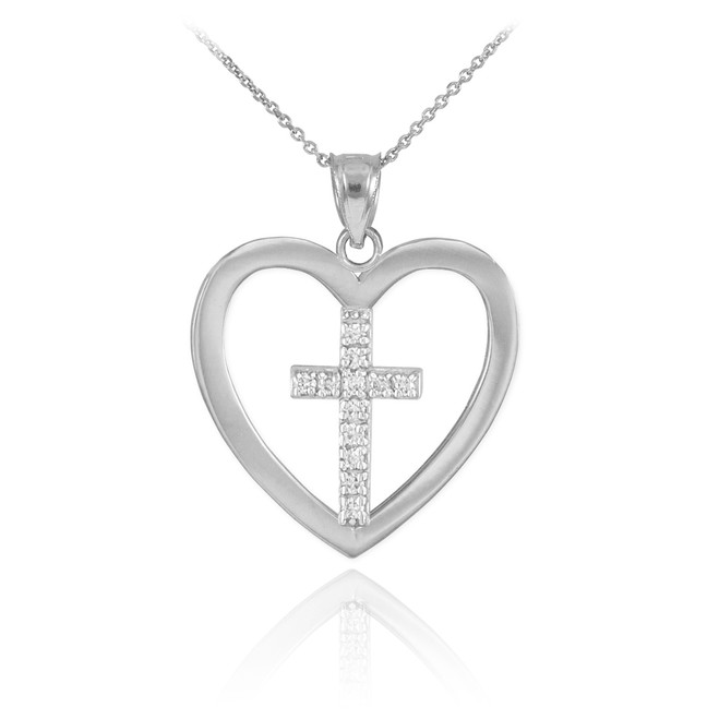 Sterling Silver Open Heart CZ Cross Pendant Necklace