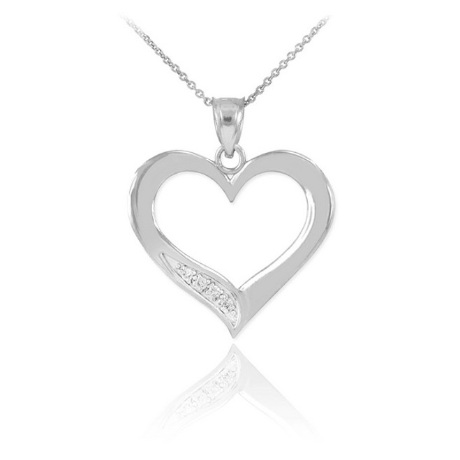 White Gold Open Heart Diamond Pendant Necklace
