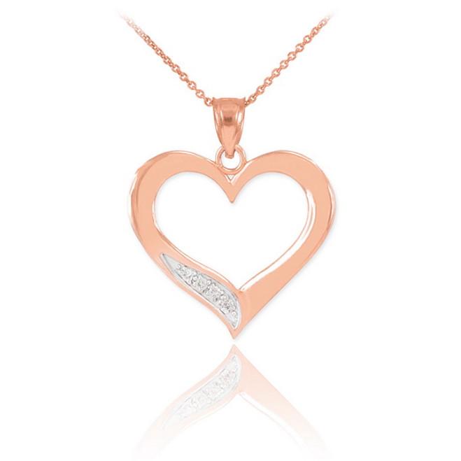 Rose Gold Open Heart Diamond Pendant Necklace