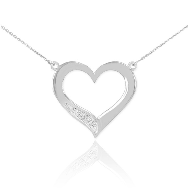 Sterling Silver Open Heart CZ Necklace