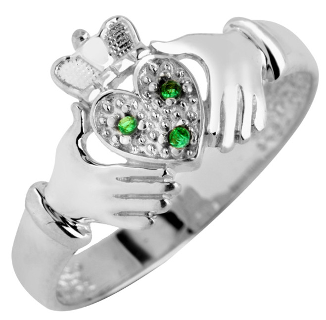 Silver Claddagh Ladies Ring with Emeralds