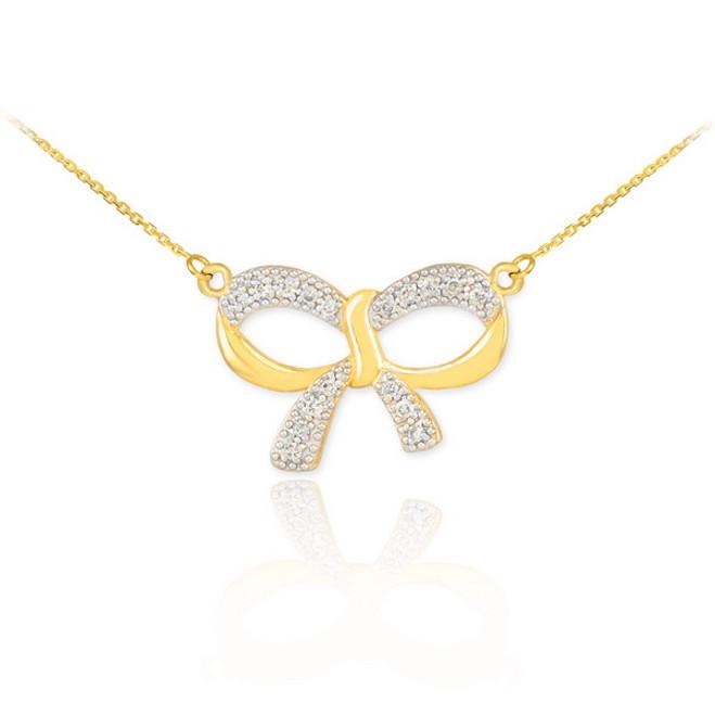 14K Polished Gold Diamond Bow Necklace