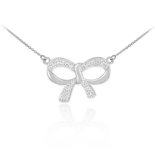 14K Polished White Gold Diamond Bow Necklace