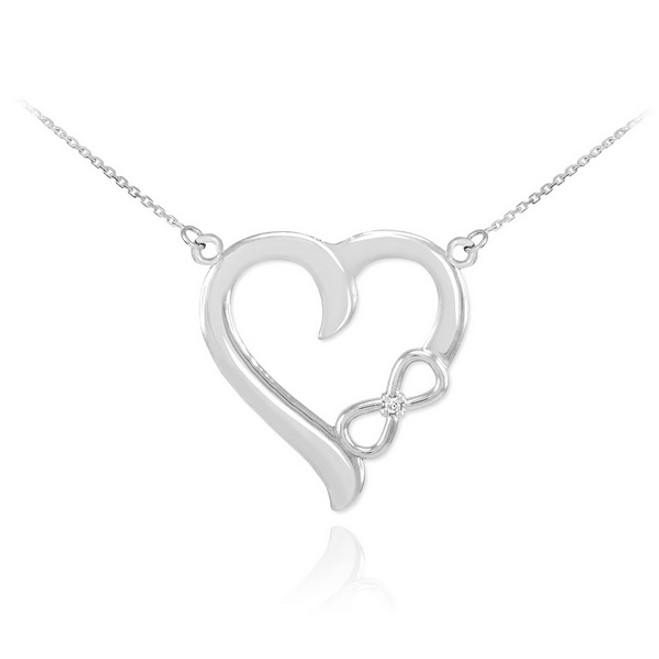 14K White Gold Infinity Heart Diamond Necklace
