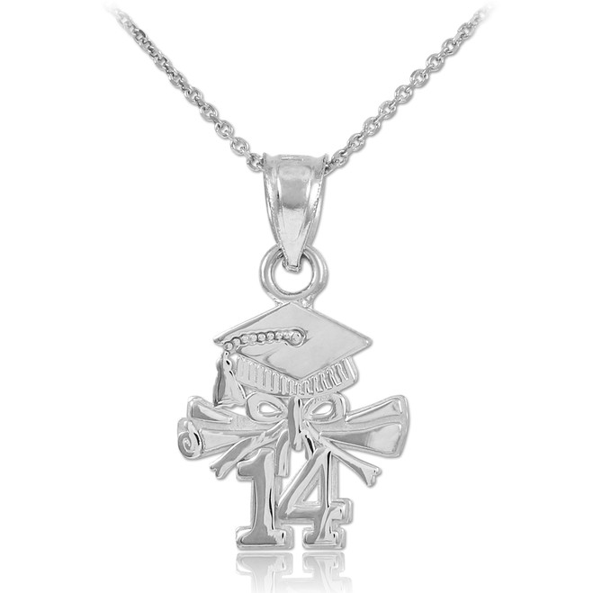 925 Sterling Silver 2014 Graduation Charm Necklace