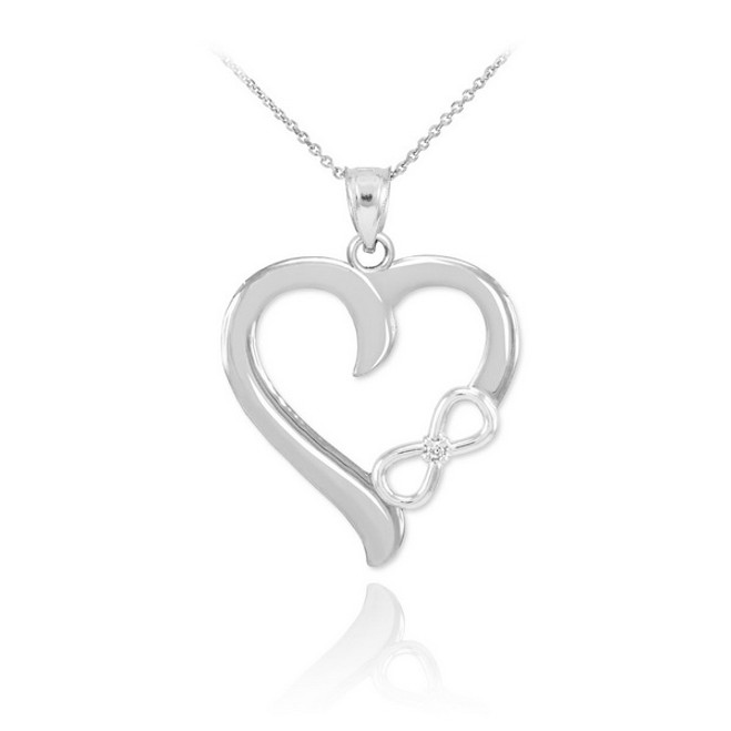 Sterling Silver Infinity Heart CZ Pendant Necklace