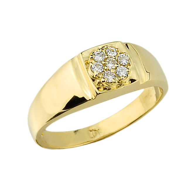Gold Diamond Wedding Men's Ring