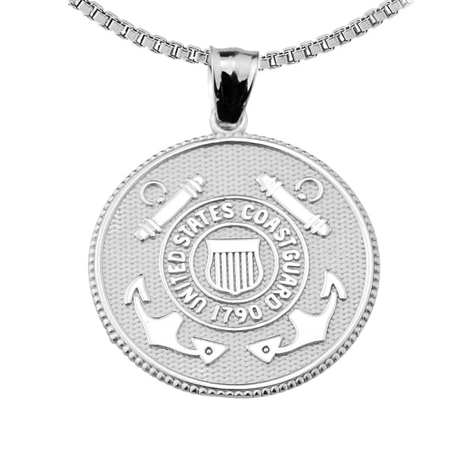 US Coast Guard Sterling Silver Coin Pendant Necklace