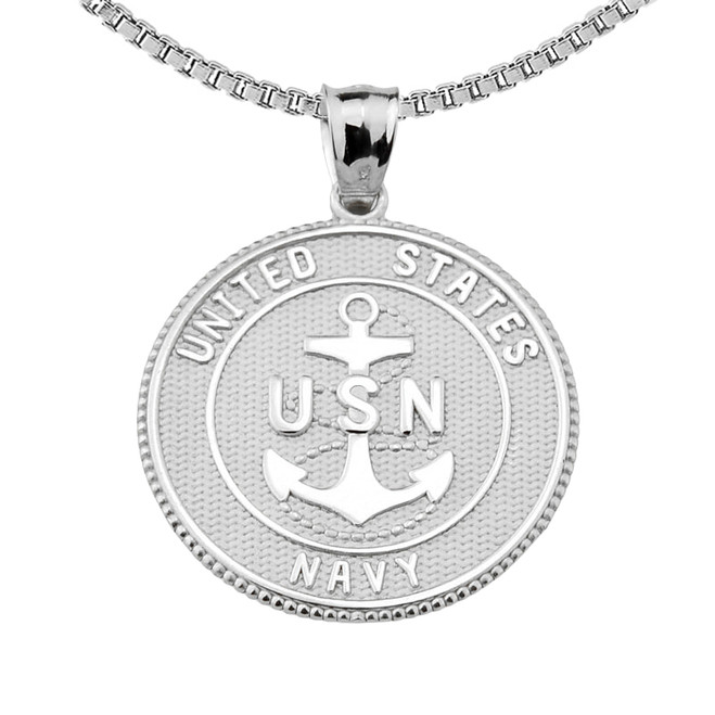 Sterling Silver Two Sided U.S. Navy Insignia Coin Pendant