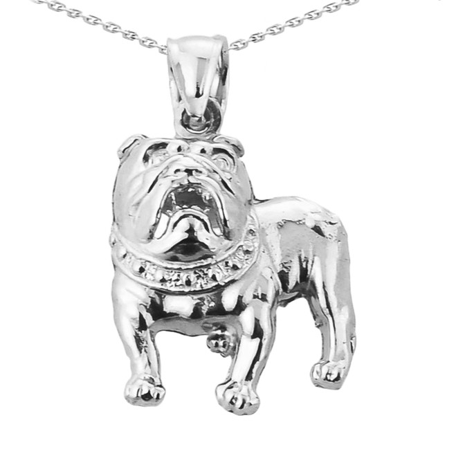 Sterling Silver Bulldog Pendant Necklace