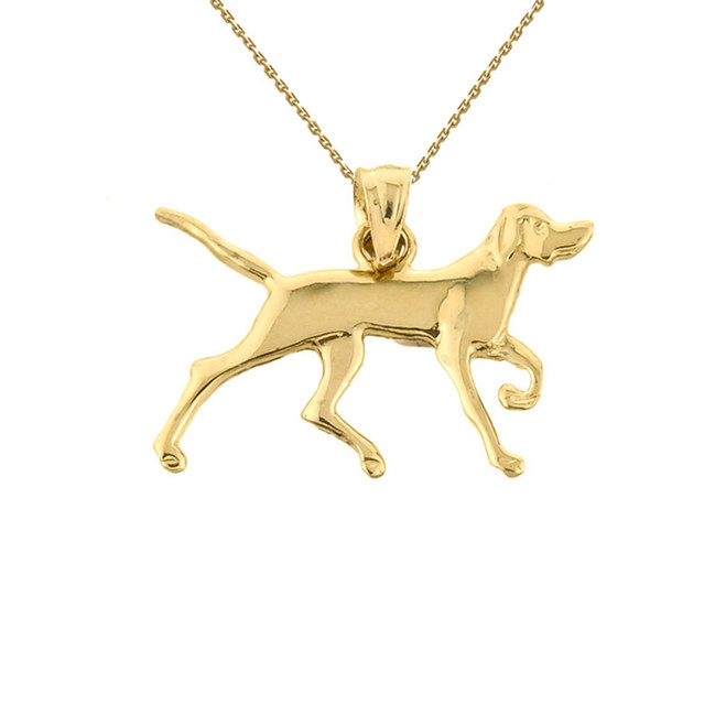 Solid Yellow Gold German Short-Haired Pointer Pendant