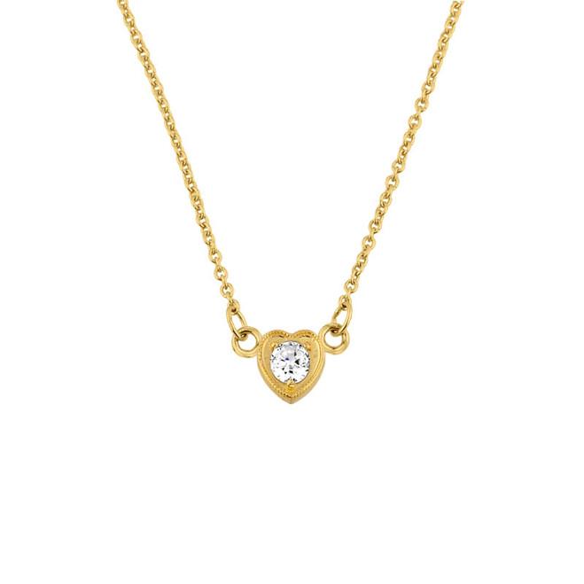 14K Gold Diamond Dainty Heart Necklace