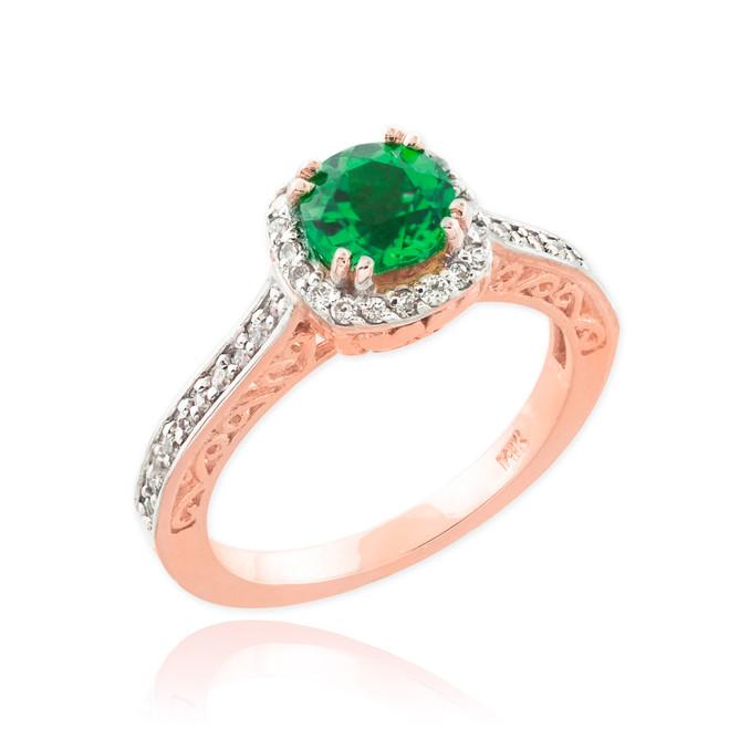 Rose Gold Halo Pave Diamond Emerald Engagement Ring