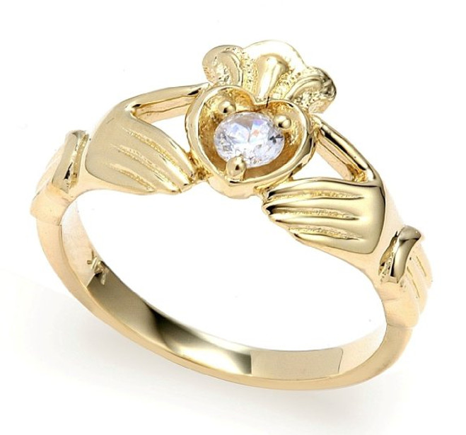 14k Yellow Gold 0.19 Carats Diamond Claddagh Engagement Ring