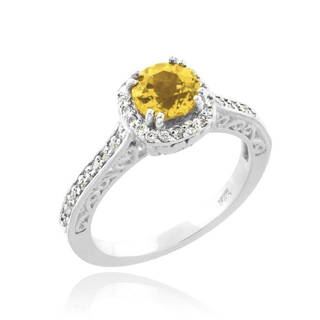 Yellow Citrine Halo Diamond Pave White Gold Engagement Ring