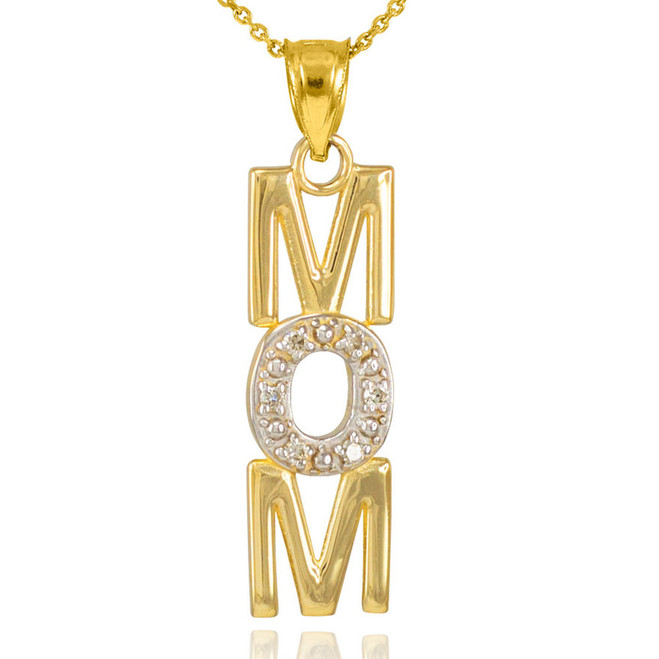 14K Gold MOM Diamond Studded Vertical Pendant Necklace