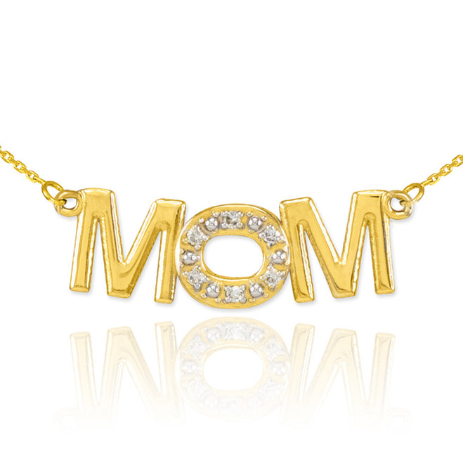 14K Yellow Gold MOM Diamond Studded Pendant Necklace