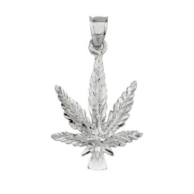 Sterling Silver Marijuana Charm Pendant