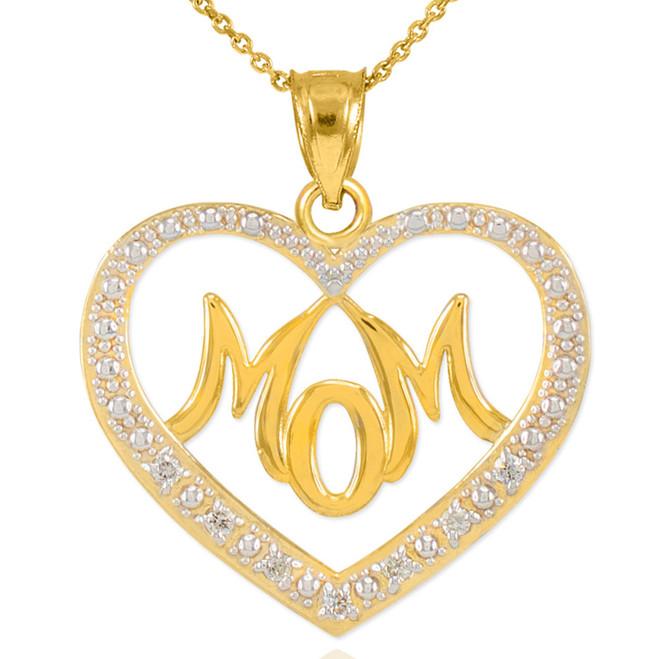 """14K Gold Diamond Studded """"Mom"""" Heart Pendant Necklace"""