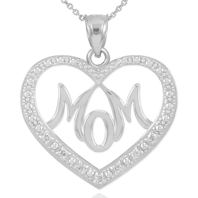 "14K White Gold Diamond Studded ""Mom"" Heart Pendant Necklace"