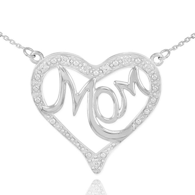 "14K White Gold Diamond Studded Heart ""Mom"" Necklace"