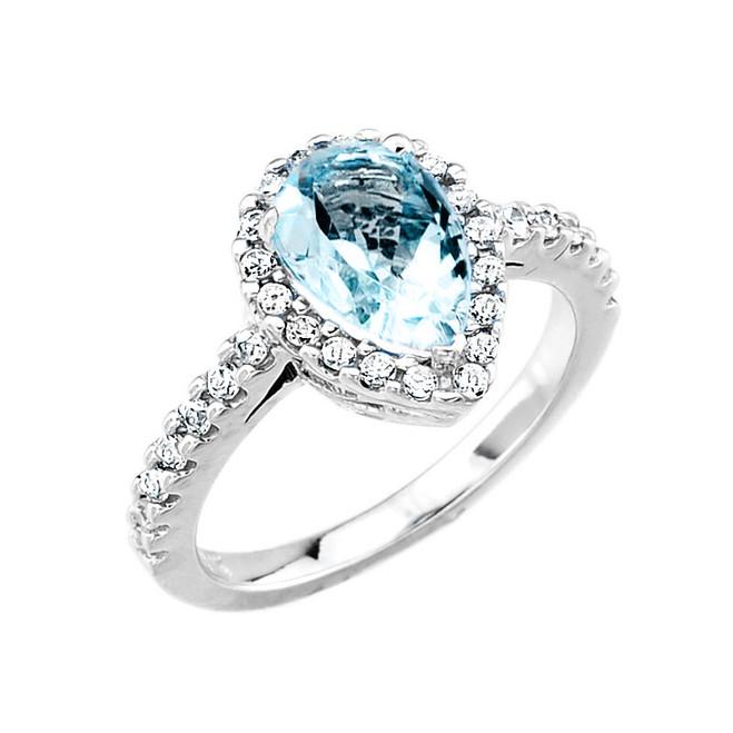 White Gold Aquamarine and Diamond Engagement Ring