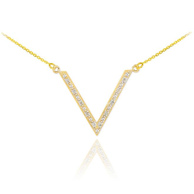 14K Diamond Studded V Necklace