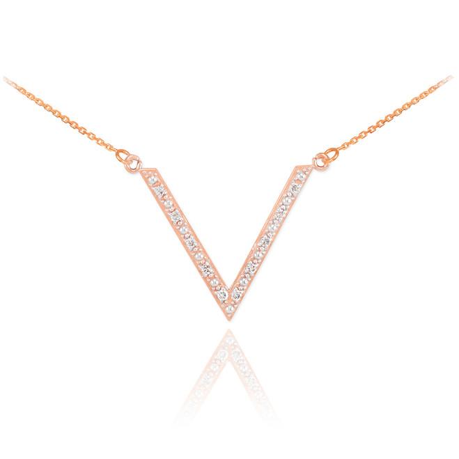 14K Rose Gold Diamond Studded V Necklace