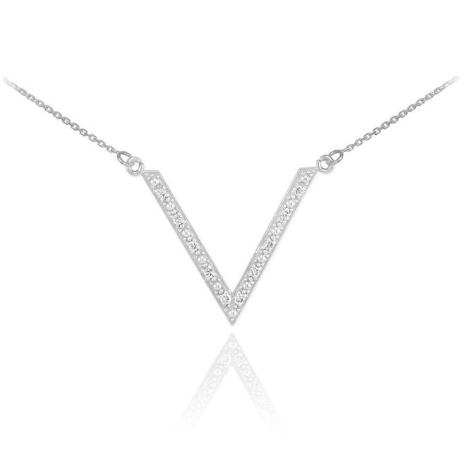 14K White Gold Diamond Studded V Necklace