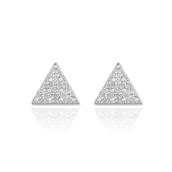 White Gold Diamond Pave Triangle Post Stud Earrings