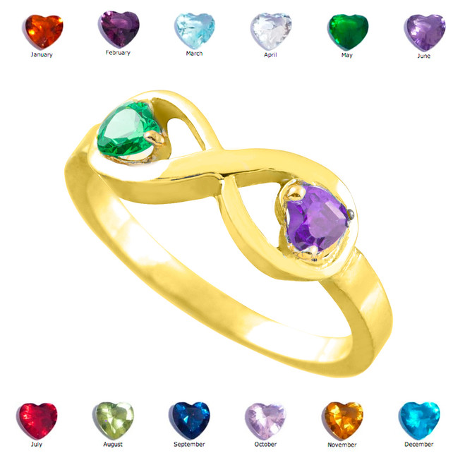 Gold Dual Heart CZ Birthstone Infinity Ring