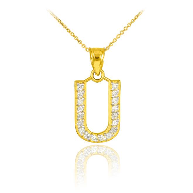 "Gold Letter ""U"" Diamond Initial Pendant Necklace"