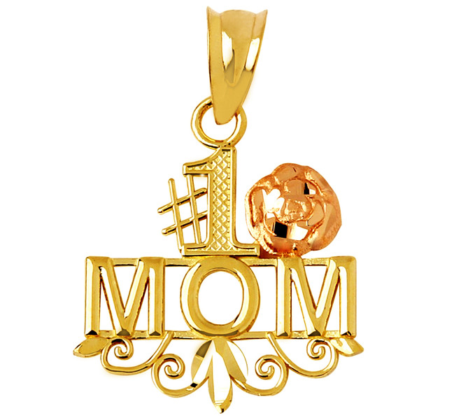 #1 Mom Pink Flower Gold Pendant
