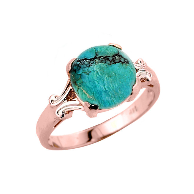 Rose Gold Ladies Turquoise Gemstone Ring