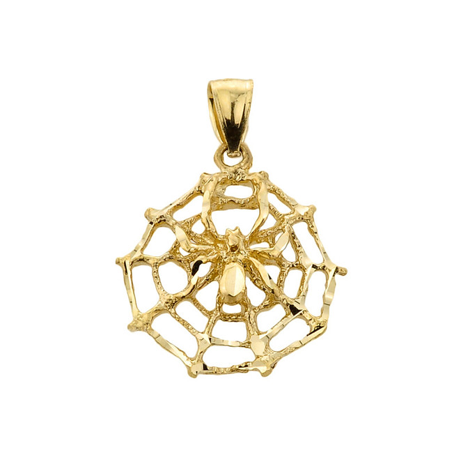 Gold Spider Web Charm Pendant