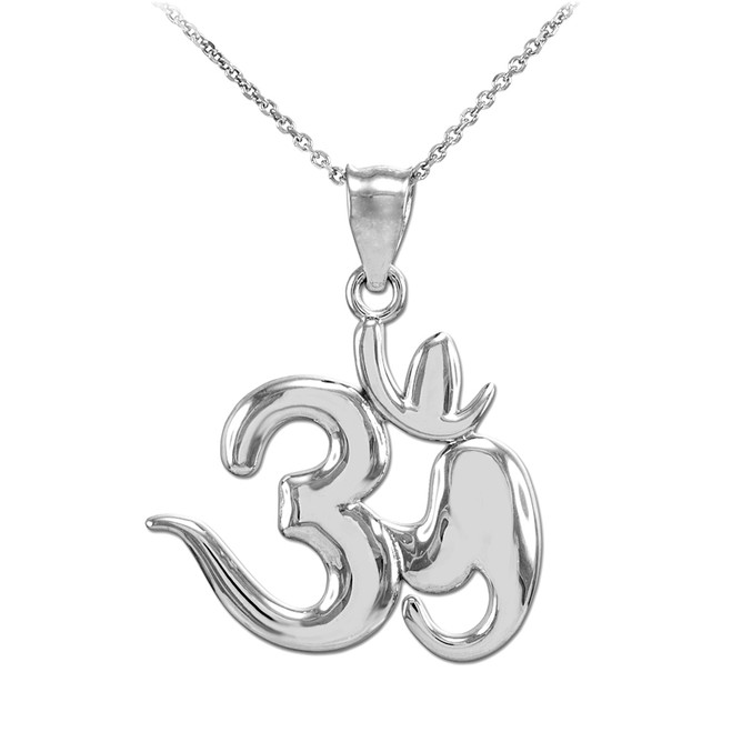 Polished White Gold Om Symbol Pendant Necklace