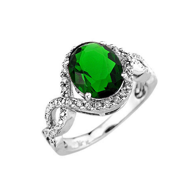 White Gold (LCE) Emerald and Diamond Infinity Engagement Ring