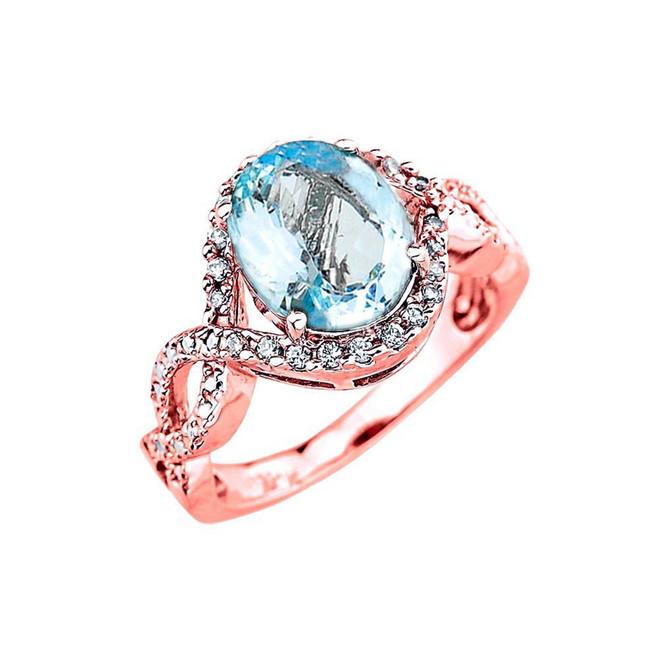 Rose Gold Aquamarine and Diamond Infinity Engagement Ring