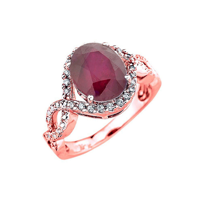 Rose Gold Ruby and Diamond Infinity Engagement Ring