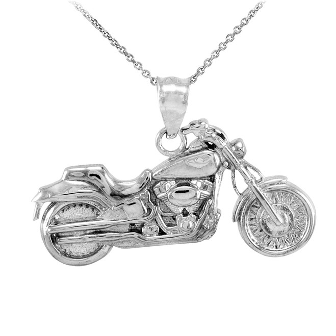 Sterling Silver Motorcycle Pendant Necklace