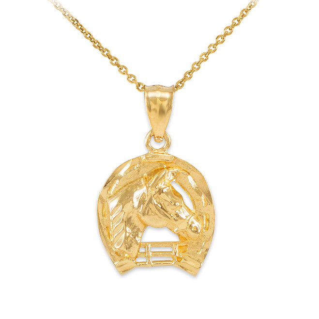 Gold Horseshoe with Horse Head Charm Pendant Necklace