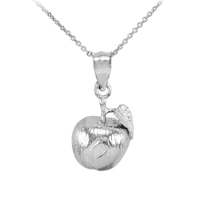 Sterling Silver Apple Charm Pendant Necklace