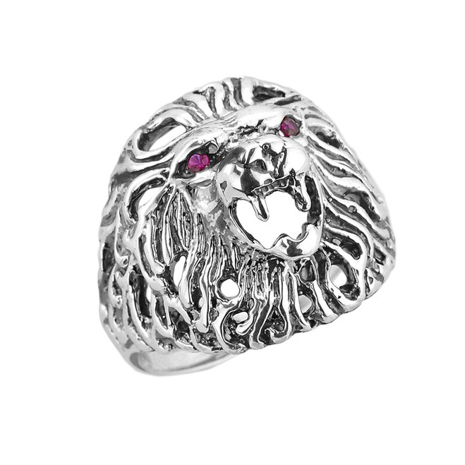 Sterling Silver Openwork Lion Head Men's Ring with Cubic Zircons