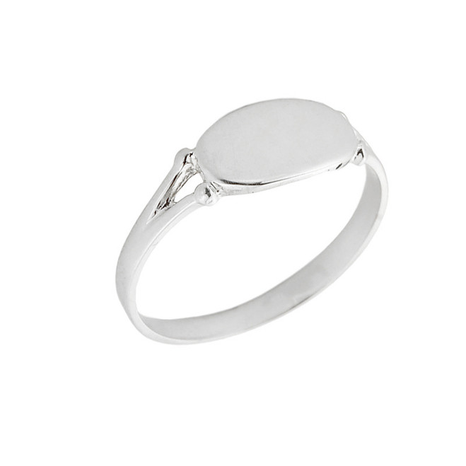 White Gold Engravable Signet Ring