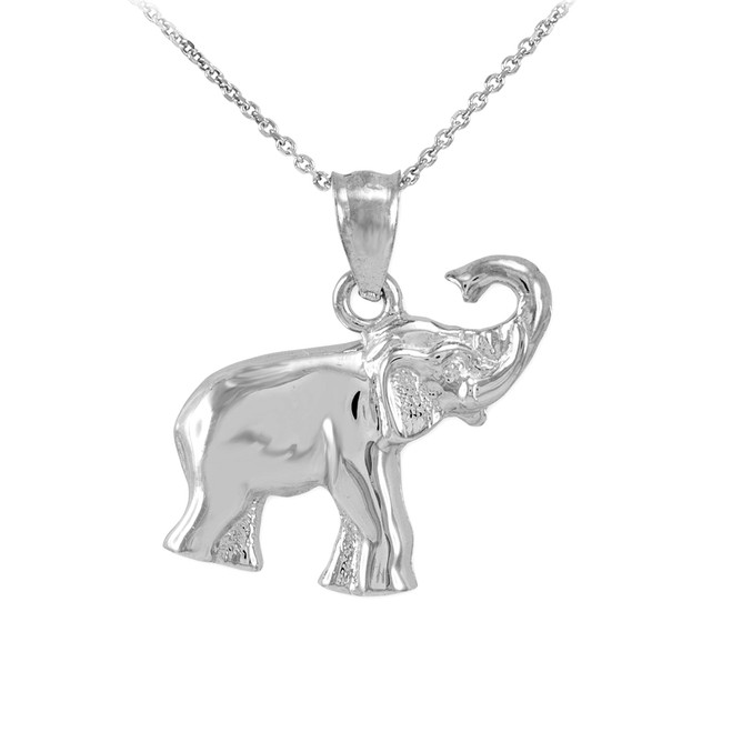 Sterling Silver Elephant Charm Pendant Necklace