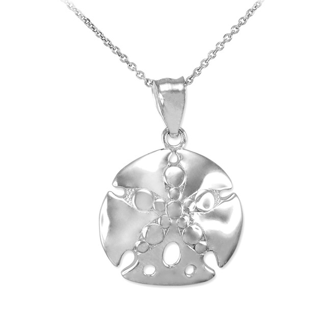 Sterling Silver Textured Sand Dollar Pendant Necklace