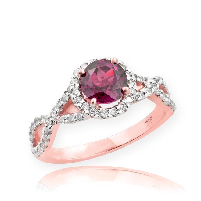 Rose Gold Alexandrite Birthstone Infinity Ring with Diamonds