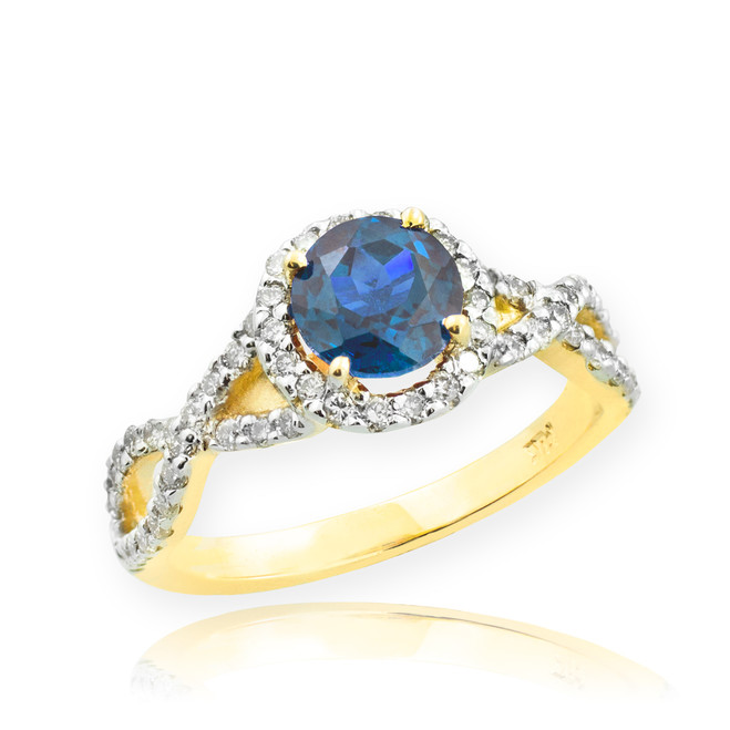 Gold Blue Topaz Birthstone Infinity Ring with Diamonds